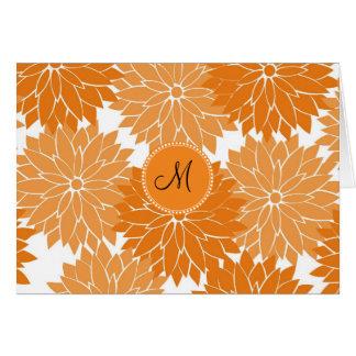 Personalized Monogram Orange Flower Blossoms Note Card
