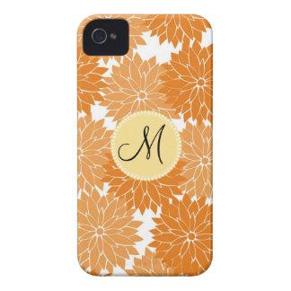 Personalized Monogram Orange Flower Blossoms iPhone 4 Case-Mate Cases