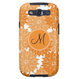 Personalized Monogram Orange Flower Blossoms Galaxy SIII Covers