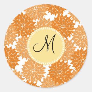 Personalized Monogram Orange Flower Blossoms Classic Round Sticker