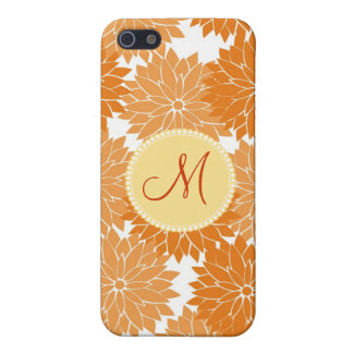 Personalized Monogram Orange Flower Blossoms Covers For iPhone 5
