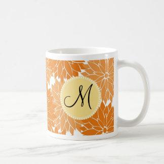 Personalized Monogram Orange Flower Blossoms Basic White Mug