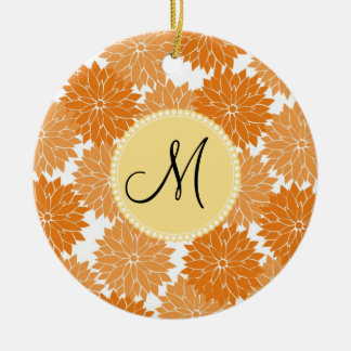 Personalized Monogram Orange Flower Blossoms Round Ceramic Decoration