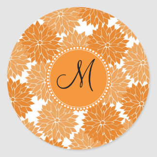 Personalized Monogram Orange Flower Blossoms Round Sticker