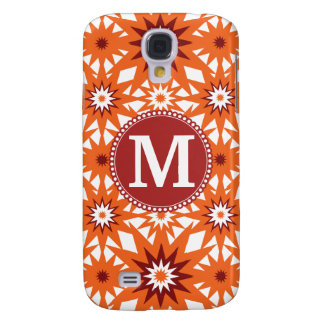 Personalized Monogram Orange Red Stars Pattern Galaxy S4 Case