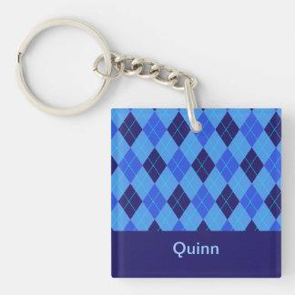 Personalized monogram Q boys name blue argyle Double-Sided Square Acrylic Key Ring