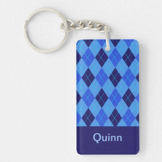 Personalized monogram Q boys name blue argyle Double-Sided Rectangular Acrylic Keychain