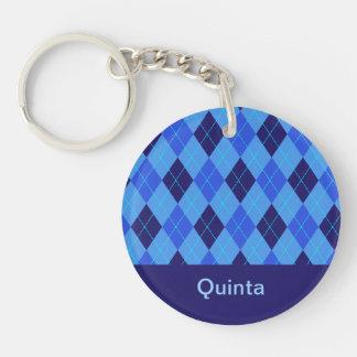 Personalized monogram Q girls name blue argyle Double-Sided Round Acrylic Key Ring
