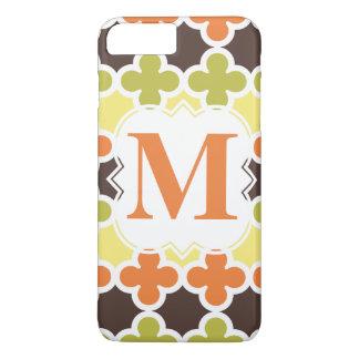 Personalized Monogram Retro Quatrefoil Pattern iPhone 8 Plus/7 Plus Case