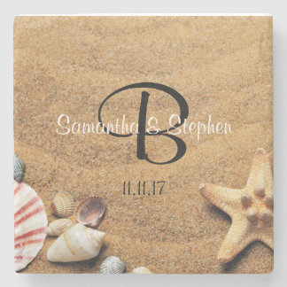 Personalized Monogram Sea Beach Wedding Gift Favor Stone Beverage Coaster