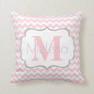 Personalized Monogrammed Pink Grey Chevron Girl Cushion