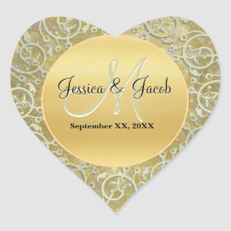 Personalized Monogrammed Wedding Stickers Heart Sticker