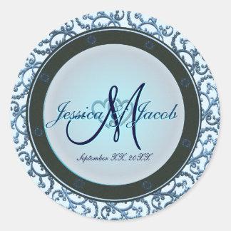Personalized Monogrammed Wedding Stickers Sticker