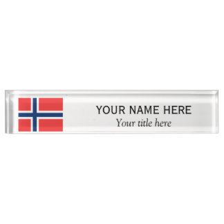 Personalized name and custom title Norwegian flag Desk Name Plates