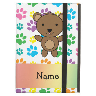 Personalized name bear rainbow paws case for iPad air