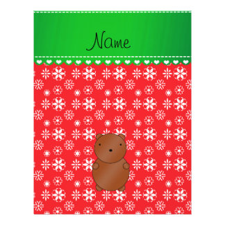 Personalized name bear red snowflakes green stripe full color flyer