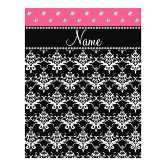 Personalized name black damask pink diamonds flyer