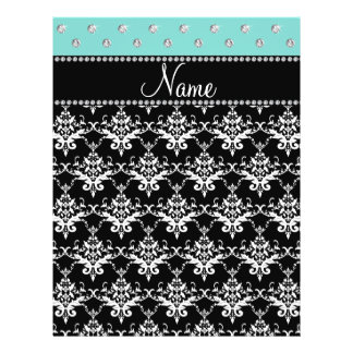 Personalized name black damask seafoam green bling personalized flyer