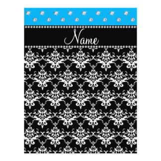 Personalized name black damask sky blue diamonds full color flyer