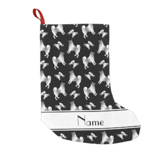 Personalized name black Norwegian Elkhound dogs Small Christmas Stocking