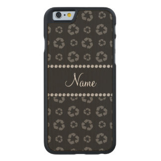 Personalized name black recycling pattern carved® maple iPhone 6 case