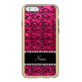 Personalized name black rose pink glitter swirls incipio feather® shine iPhone 6 case