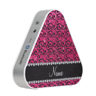Personalized name black rose pink glitter swirls bluetooth speaker