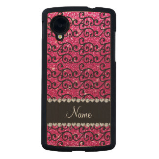 Personalized name black rose pink glitter swirls carved® maple nexus 5 case