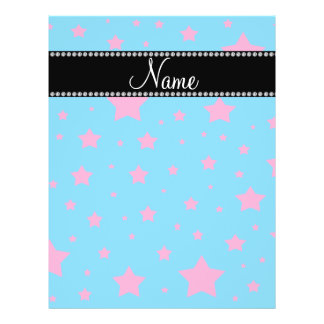 Personalized name Blue and Pink stars Flyers