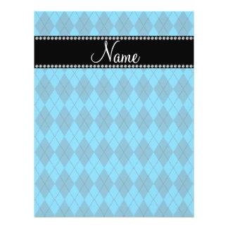 Personalized name Blue argyle pattern Custom Flyer