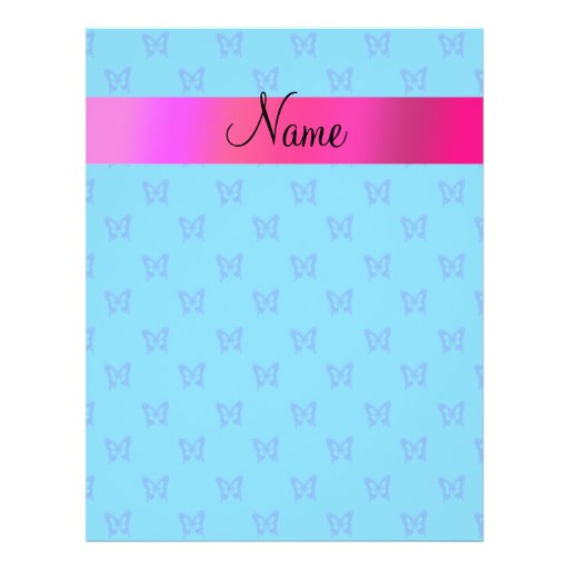 Personalized name blue butterflies flyers