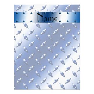 Personalized name blue diamond plate steel 21.5 cm x 28 cm flyer