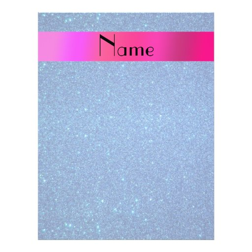 Personalized name blue glitter flyer design