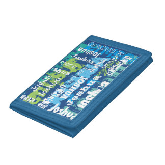 Personalized Name Blue Green Subway Art Tri-fold Wallet