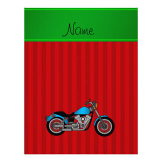 Personalized name blue motorcycle red stripes 21.5 cm x 28 cm flyer