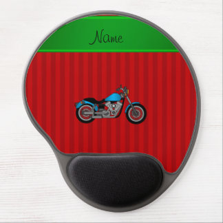 Personalized name blue motorcycle red stripes gel mouse pad