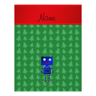 Personalized name blue robot green trees personalized flyer