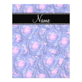Personalized name Blue roses Flyers