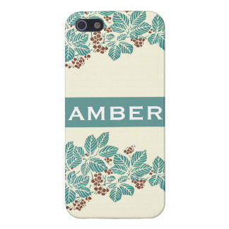 Personalized Name Botanical Ivy Berries Jade Teal Case For The iPhone 5