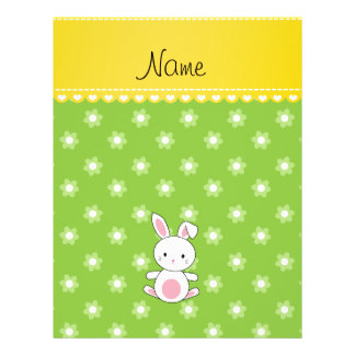 """Personalized name bunny green flowers 8.5"""" x 11"""" flyer"""