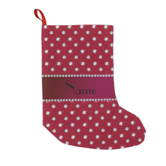 Personalized name burgundy diamonds small christmas stocking