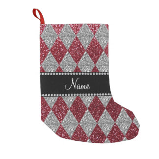 Personalized name burgundy glitter argyle small christmas stocking