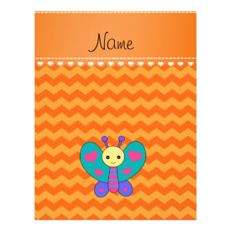 Personalized name butterfly orange chevrons flyers