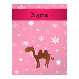 Personalized name camel pink snowflakes flyer