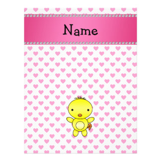 Personalized name chicken pink hearts polka dots full color flyer