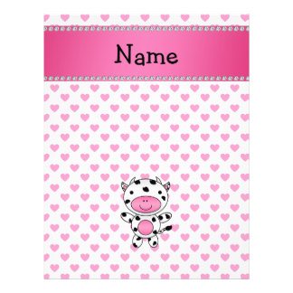 Personalized name cow pink hearts polka dots full color flyer