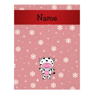 Personalized name cow red snowflakes custom flyer