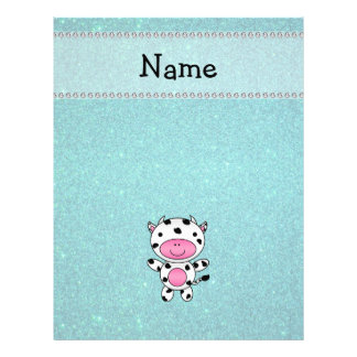 Personalized name cow turquoise glitter flyer