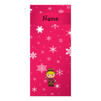 Personalized name cowboy pink snowflakes full colour rack card
