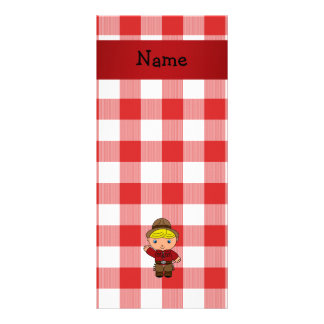 Personalized name cowboy red white checkers rack cards
